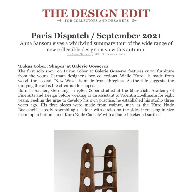THE DESIGN EDIT  - Paris Dispatch / September 2021 Anna Sansom gives a whirlwind summary tour of the wide range of new collectible design on view this autumn.